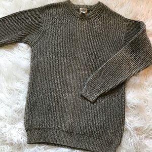 VINTAGE LL BEAN GREEN CREAM KNIT SWEATER
